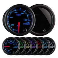 """GlowShift Tinted 7 Color 100 PSI Oil Pressure Gauge Kit - Includes Electronic Sensor - Black Dial - Smoked Lens - For Car & Truck - 2-1/16"""" 52mm"""