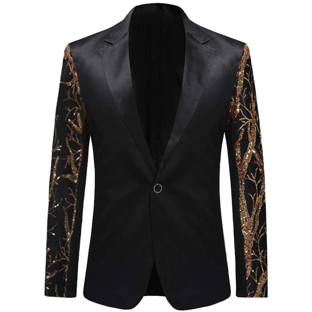 Boyland Men's Sequins Floral Suit   Notched Lapel Slim Fit Stylish Blazer