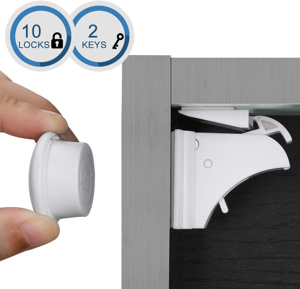 Cabinet Locks Child Safety,Linkax Magnetic Cabinet Locks Baby Safety Cabinet Proofing Cabinet Locks Kitchen Cabinet Locks Sliding Cabinet Locks No Drill for Drawer Cupboard (10 Locks + 2 Key)