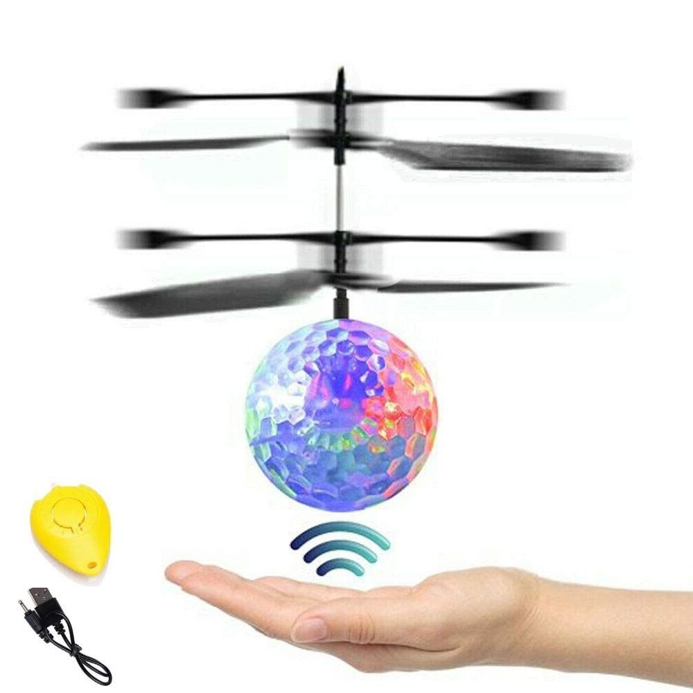 Hand Operated Kids Flying Drone, Indoor Outdoor Rechargeable Infrared Induction RC Helicopter Toy - Colorful Disco Ball Light, Best Gift & Birthday Present Idea 2020 for Boys Girls Teens & Adults
