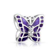 Purple Pink Crystal Garden Insect Butterfly Charm Bead For Women For Teen 925 Sterling Silver Fits European Bracelet