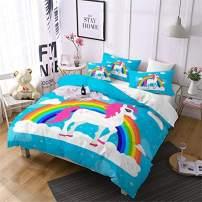 Jessy Home Unicorn Bedding 3 Pieces Queen Size Cartoon Duvet Cover Kids Girls Rainbow Unicorn Quilt Cover Animal Pattern Cute Unicorn Duvet Cover +2 Pillowcase,Blue