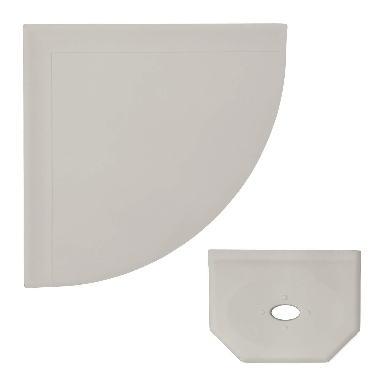 9 inch Corner Shower Shelf and 5 inch Floating Soap Dish - Matte Gray Flatback Wall Mounted Bathroom Organizer