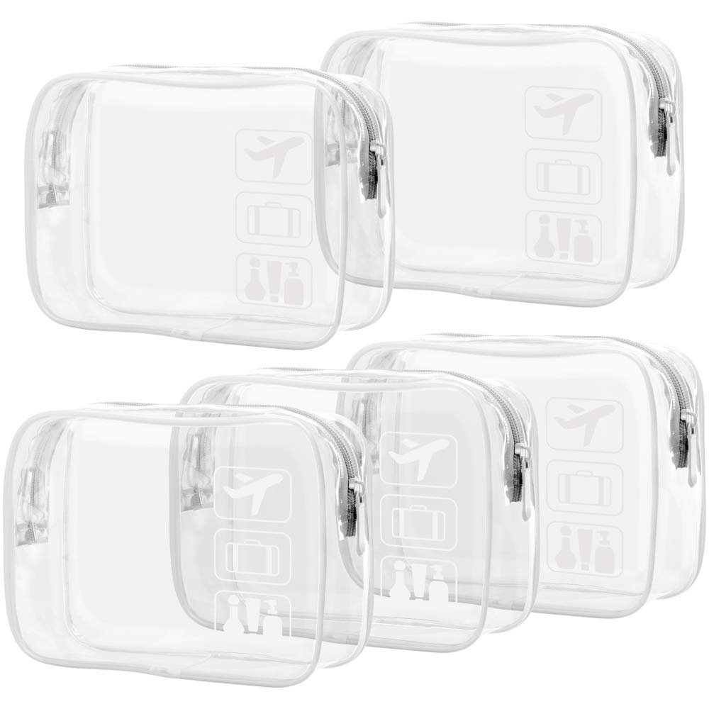 Clear Makeup Bag with Zipper, Packism 5 Pack Beauty Clear Cosmetic Bag TSA Approved Toiletry Bag, Travel Clear Toiletry Bag, Quart Size Bag Carry on Airport Airline Compliant Bag, White