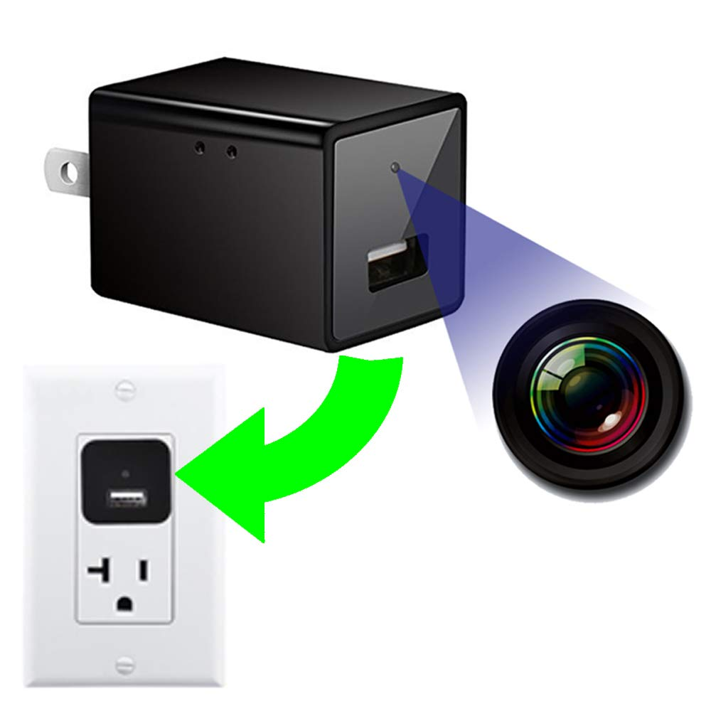 Spy Camera USB Charger,HD 1080P Mini Hidden Camera USB Wall Adapter with Motion Detection, Home Security System Small Secret Nanny Camera (No Wi-Fi)