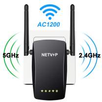Superboost NETVIP WiFi Extender AC1200 Wireless Internet Signal Booster for Home, 2.4 & 5G Dual Band Wi-Fi Repeater Wifi Amplifier with High Gain Dual Antennas & Ethernet Port,360 Degree Full Coverage