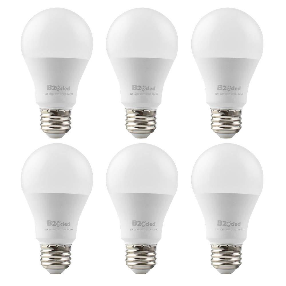 B2ocled LED 100 Watt Light Bulb - Efficient 12W A19 Lighting Lamp - E26/E27 Screw Base - Warm White 2700K - Non-Dimmable - 800-Lumen - Super Bright for Home Office Workroom - Pack of 6