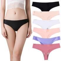 Nightaste Women's Seamless Thong Panties Pack of 6pcs Ice Silk No Show G-Strings