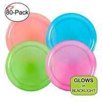 Tiger Chef Neon Assorted Party Plates, 80-Pack 6-inch Hard Plastic Plates, Assorted Neon Colors Pink, Blue, Green and Orange