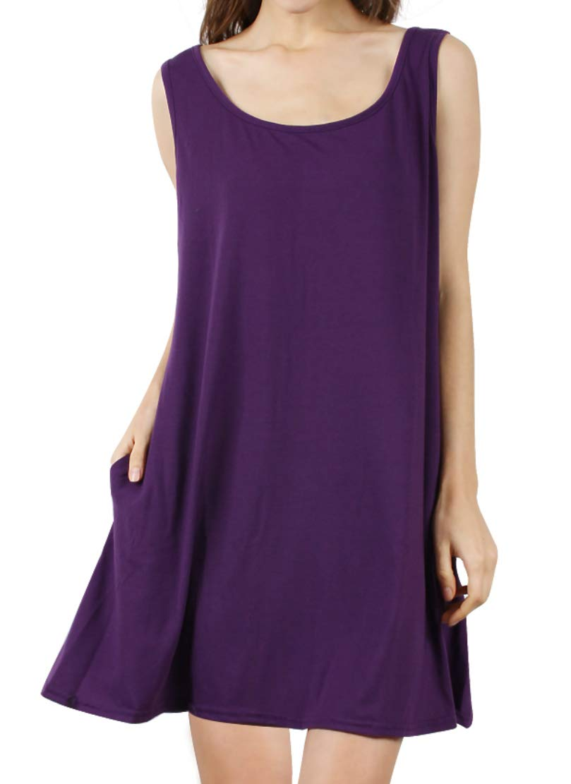 DD DEMOISELLE Sleeveless Tank Dress, Women's Summer Casual Sundress Soft Loose T Shirt Dresses Sleeveless Sleeping Swing Dress with Pockets Purple M