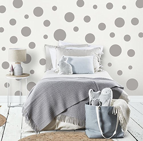 "Polka Dot Wall Decals (63) Girls Room Wall Decor Stickers, Wall Dots, Vinyl Circle Peel & Stick DIY Bedroom, Playroom, Kids Room, Baby Nursery Toddler to Teen Bedroom Decoration 3""-6.5"" (Grey)"