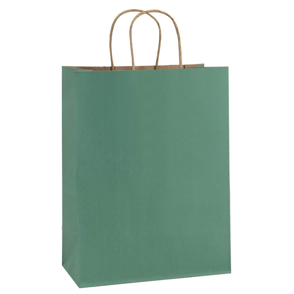 BagDream Gift Bags 10x5x13, Green Stripes Kraft Paper Bags 25Pcs Shopping Bags, Mechandise Bags, Retail Bags, Party Bags, Paper Gift Bagswith Handles, 100% Recycled Paper Bags