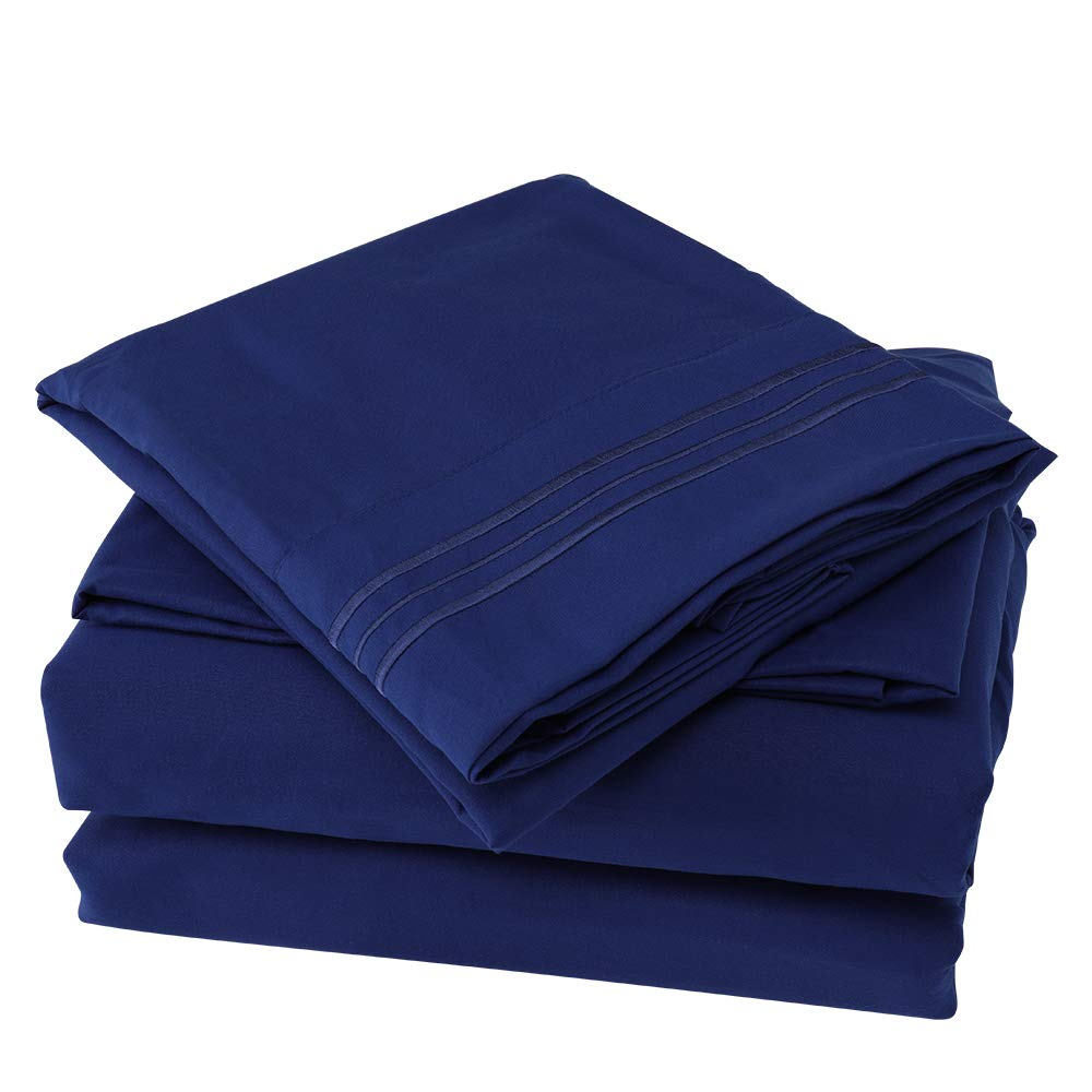 Bonzy Home 4 Piece Luxury Bed Sheet Set Brushed Microfiber 1800 Bedding-Wrinkle Fade, Stain Resistant - Hypoallergenic (Twin, Royal Blue)