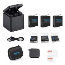 TELESIN Triple Charger Battery Charging Box with 3 Battery Pack, Storage Cases, USB Type-C Cable, Camera Lens Cover, Screen & Lens Protector 6 in 1 Accessory Kit for GoPro Hero8 Black, Hero7/6, Hero 5