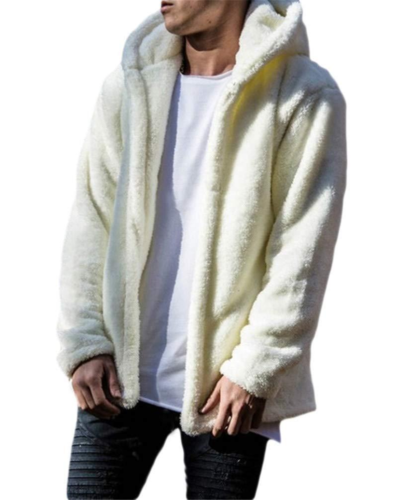 Nicetage Mens Fuzzy Sherpa Fleece Hoodie Lightweight Jacket Open Front Cardigans Coat with Pockets (No Zipper)