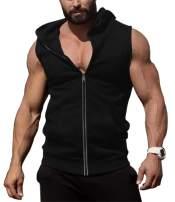 COOFANDY Men's Zip Up Workout Tank Tops Hooded Bodybuilding Fitness Muscle Cut T Shirt Sleeveless Gym Hoodies