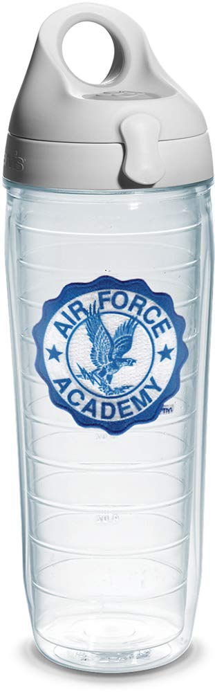 Tervis US Air Force Academy Emblem Individual Water Bottle with Gray Lid, 24 oz, Clear -