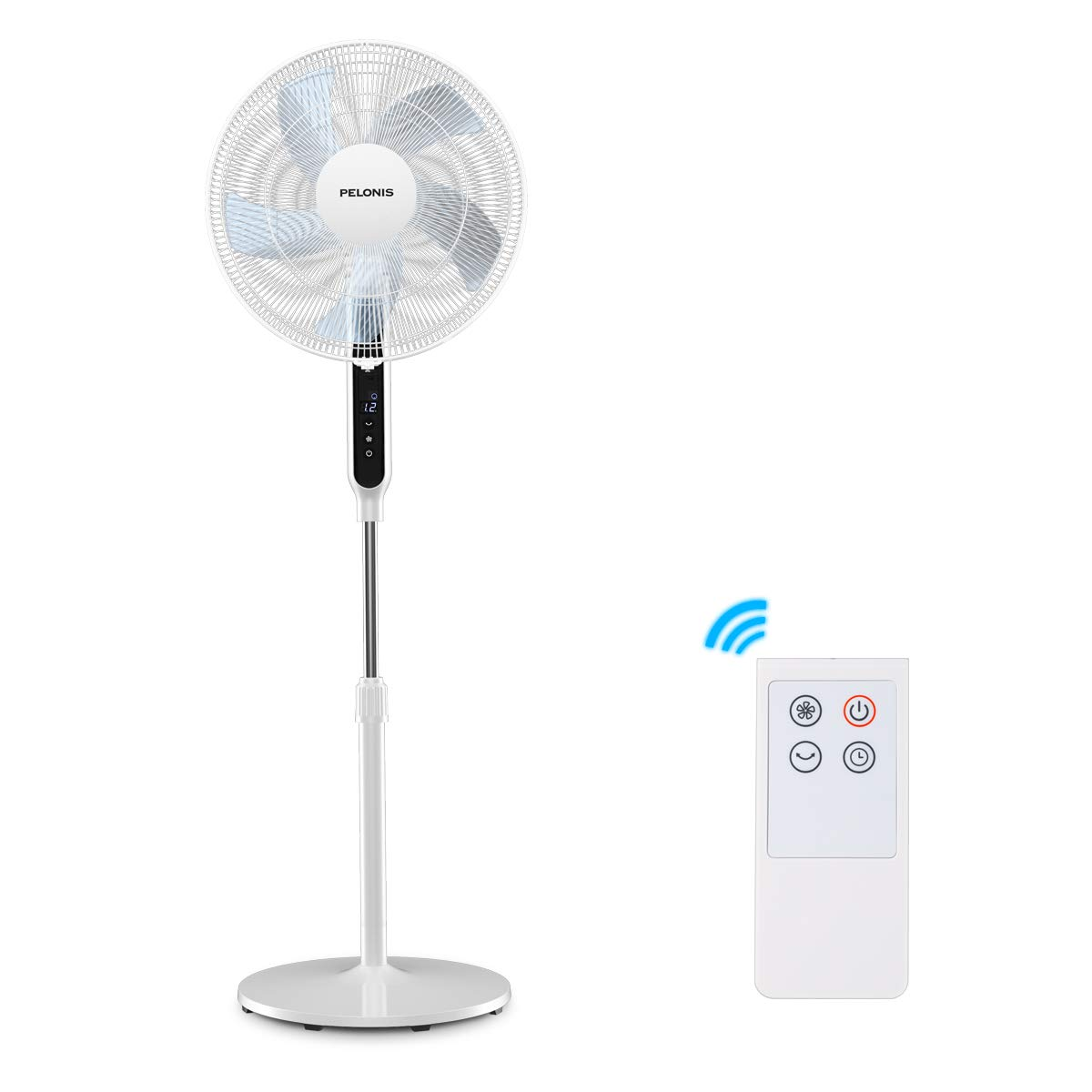 PELONIS Ultra Quiet Sleeping &Baby, High Energy Efficiency Standing Speed, 12-Hour Timer, Remote Control, and Adjustable Heights, FS40-19PRD, 16 Inch, 16-inch DC Motor Pedestal Fan White