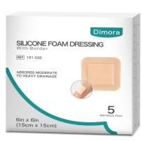 """Silicone Foam Dressing Large Size with Border Adhesive Waterproof 6"""" X 6"""" (15 cm X 15 cm) Pack of 5 Foam Wound Dressing for Advance Wound Care"""