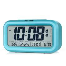 Peakeep Digital Alarm Clock with 2 Alarms for Weekday Mode, Indoor Temperature, Smart Sensor Night Light, Battery Operated Only (Blue)