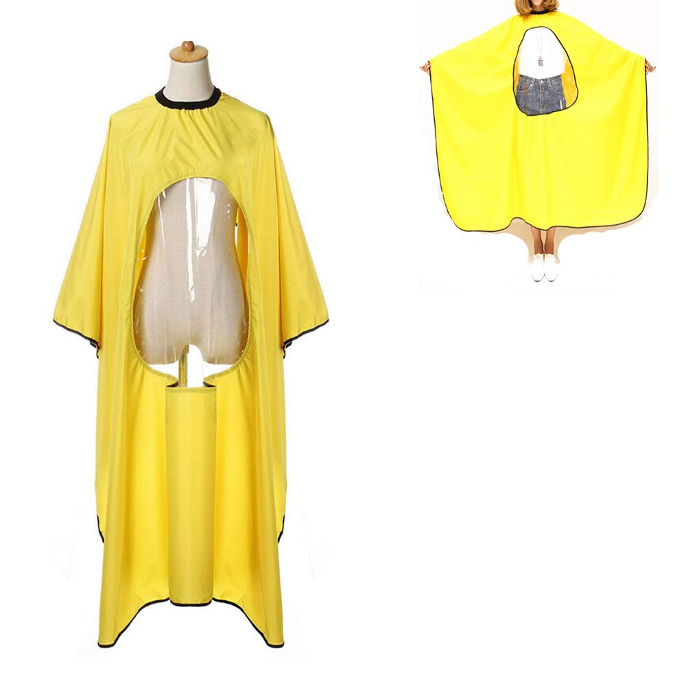 WSERE Professional Salon Barber Cape Hair Cutting Haircut Apron with Clear Visual Window, Anti-static Waterproof Reliable Protection 5 Colors, Yellow
