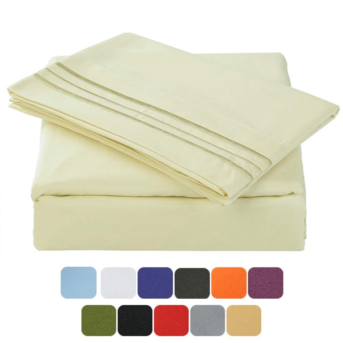 TASTELIFE 105 GSM Deep Pocket Bed Sheet Set Brushed Hypoallergenic Microfiber 1800 Bedding Sheets Wrinkle, Fade, Stain Resistant - 4 Piece(Ivory,California King)