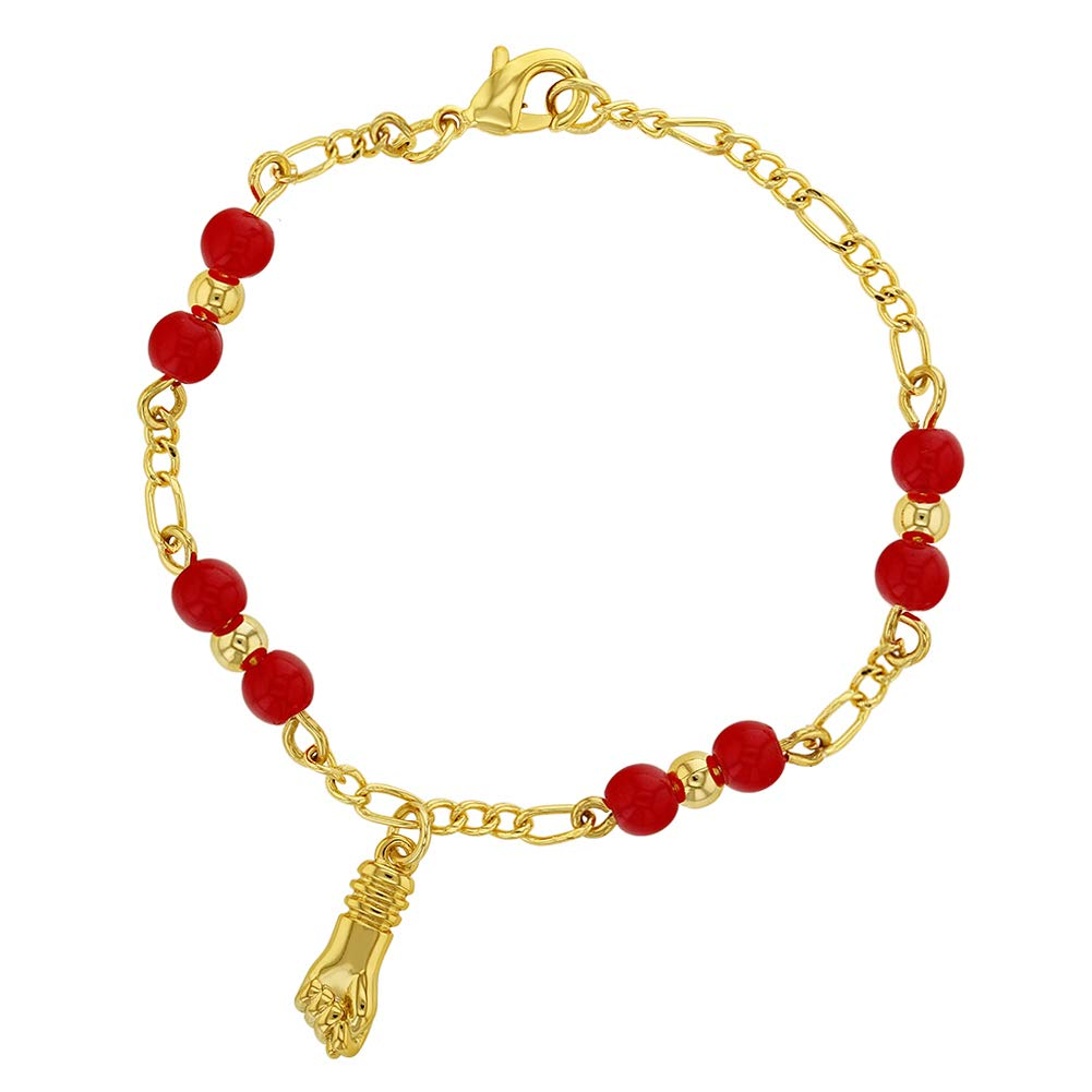 """In Season Jewelry 18k Gold Plated Figa Hand Amulet Evil Eye Protection Red Baby Bracelet 5"""""""