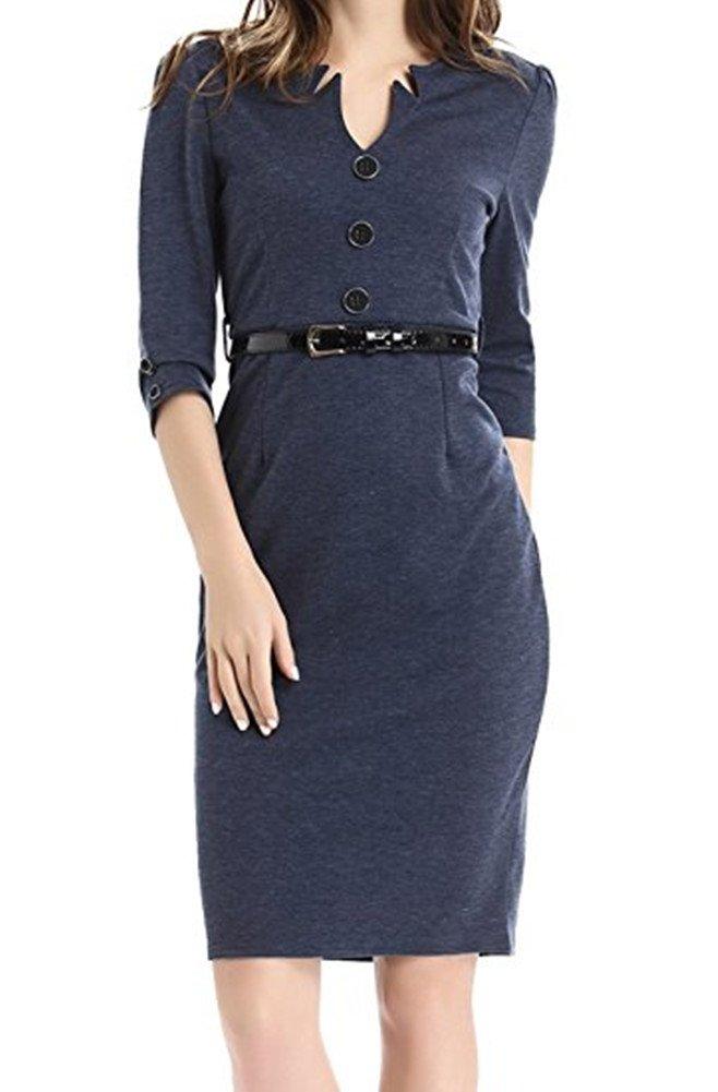 Colyanda Women's V-Neck 3/4 Sleeve Wear to Work Business Cocktail Pencil Dress