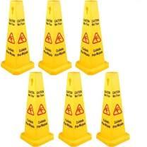 BestEquip 6 Pack Floor Safety Cone, 26-Inch Wet Floor Sign, Yellow Caution Wet Floor Signs, 4 Sided Public Safety Wet Floor Cones, Bilingual Wet Sign Floor, for Restaurant Restroom Office