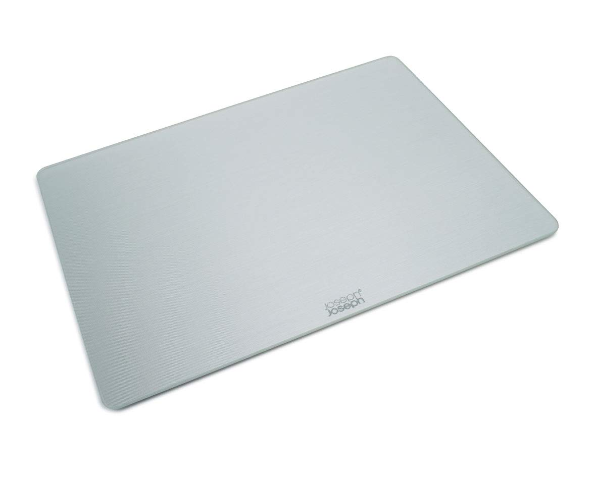 Joseph Joseph Worktop Saver Glass Cutting Board and Serving Board Heat Resistant, 11.8-in x 15.8-in, Silver