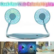 Portable Fan USB Rechargeable with Dual Wind Head Aromatherapy Fan Hand Free Wearable Neckband Fan for Camping Traveling Office Room Kids Stroller (Blue (Upgraded with Light))