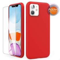 AHASTYLE Liquid Silicone Case for iPhone 11 6.1 inch(2019), Soft Slim Rubber Protection Case Cover[Added Tempered Glass] (Red)