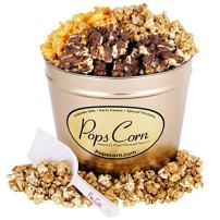Popcorn Tin-2 LARGE GALLONS-3 FLAVORS- FREE SANITARY SCOOPER!