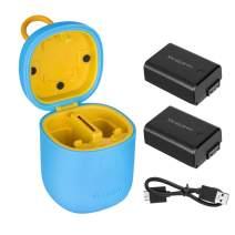 TELESIN allin Box NP-FW50 Camera Batteries Charger Set for Sony A6000 Battery, A6500, A6300, A7, A7II, A7RII, A7SII, A7S, A7S2, A7R, A7R2, A55, A5100 Accessories (Blue-Box with 2pcs NP-FW50 Battery)