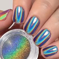 PrettyDiva 1g Holographic Powder Rainbow Unicorn Chrome Nails Powder Manicure Pigment Top Grade