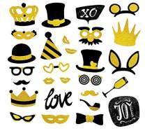 Gold Photo Booth Props Birthday Kit(28 Pcs)-Bling Glitter Big Masquerade Mix of Hats, Lips, Mustaches, Crowns and More- Perfect for Wedding, Party Decorations, Selfie DIY