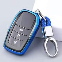 ontto Soft TPU Rubber Key Fob Cover Case Smart Remote Entry Keycase Shell Holder Jacket Skin Keychain Key Ring Fit for Toyota Hilux Fortuner Cruiser Rav4 Blue