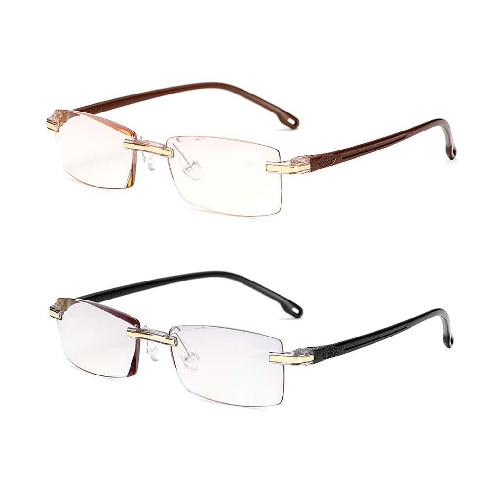 Reading Glasses Blue Light Blocking 2 Pairs Lightweight Rimless Readers Computer Glasses Anti Eyestrain for Men, Black Brown 2.50
