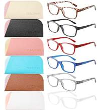 YUMUYAN 6-Pack Reading Glasses Blue Light Blocking for Women Men, Lightweight Anti Eyestrain/Glare Computer Readers with Spring Hinge(4.0)