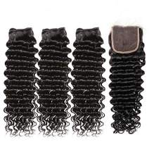 Deep Wave 3 Bundles with Closure 9A Brazilian Deep Curly Human Hair Bundles and 4x4 Free Part 100% Unprocessed Virgin Hair Extensions Natural Black(12 14 16 with closure 10)