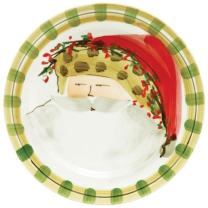 Vietri Old St. Nick Dinner Plate - Animal Print Hat, Handpainted Italian Stoneware