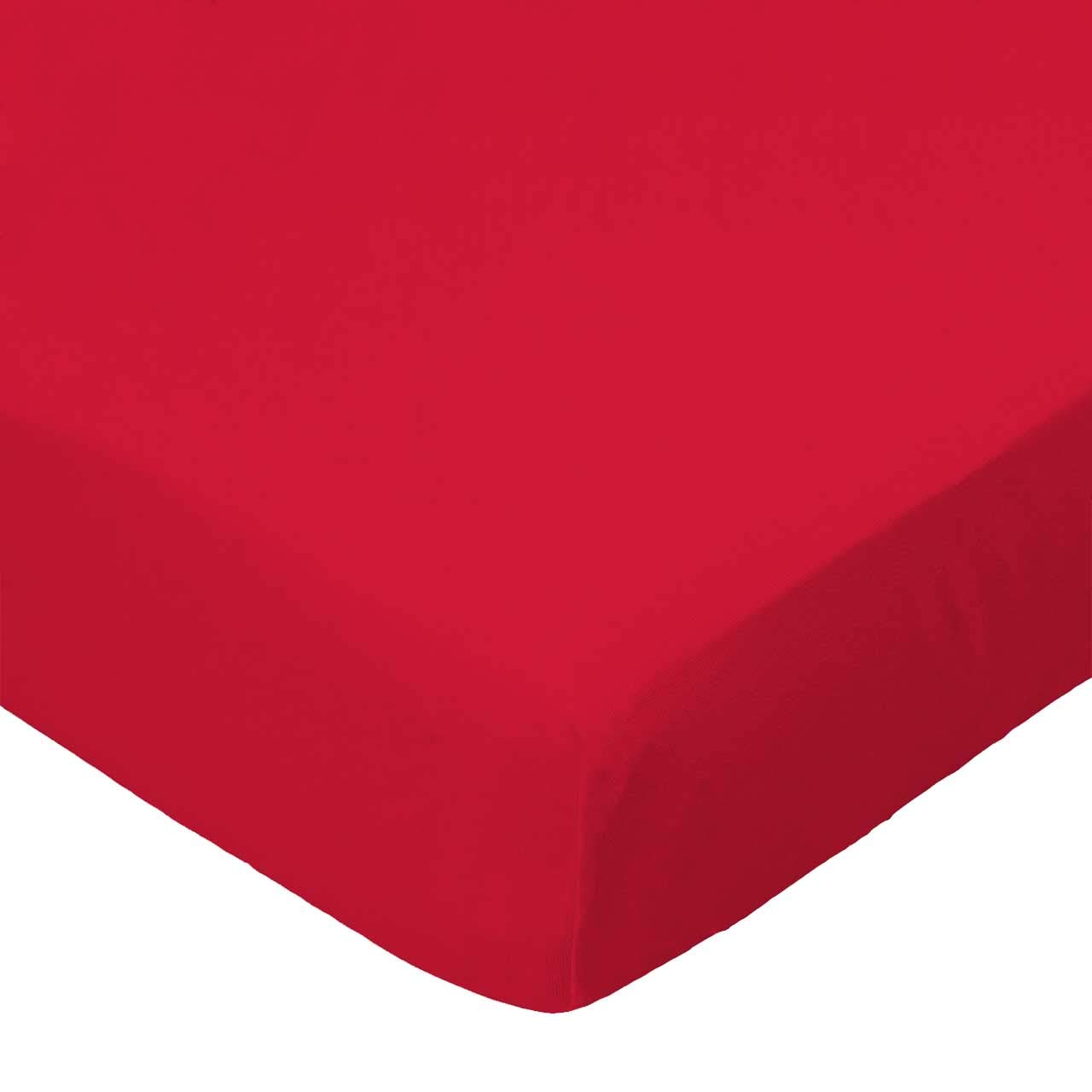 SheetWorld Fitted Portable / Mini Crib Sheet - Solid Red Jersey Knit - Made In USA