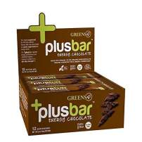 Greens+ Plusbar Energy Chocolate | Gluten Free Energy Bar | Organic Greens | Organic Dark Chocolate | Non GMO | 12 Bars