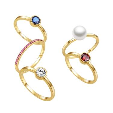 5Pcs New gorgeous fashion women lady rainbow rings colorful oval cz engagment wedding ring for gifts