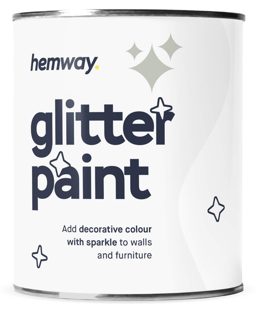 Hemway Silver Glitter Paint 1L Matte Walls Wallpaper Bathroom Furniture Acrylic Latex (Pistachio)