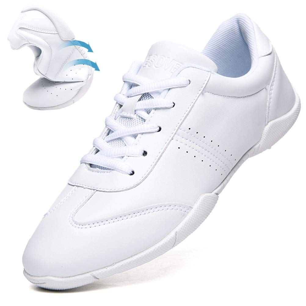 DADAWEN Women's Celebration Shoes Training White Cheerleading Shoes