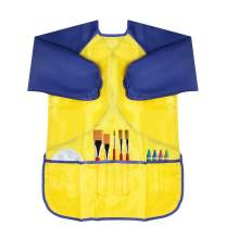 CUBACO 1 Pack Apron for Kids Artist Apron Toddler Art Smock Kids Painting Apron Children's Waterproof Art Smock with Long Sleeve and 3 Pockets for Age 3-8 Years-Yellow Color