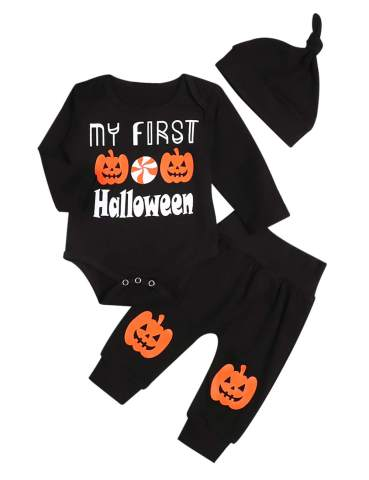 My First Halloween Clothes Newborn Baby Girl Boy Funny Pumpkin Long Sleeve Romper Pants with Hat and Headband Outfits Set
