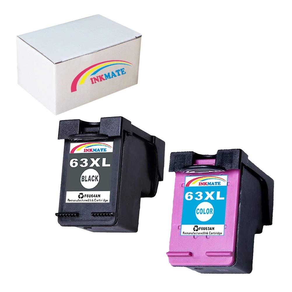 INKMATE Re-Manufactured Ink Cartridge Replacement for HP 63XL for HP Deskjet 1110 Deskjet 2130 Deskjet 3630 Envy 4520 Envy 4512 Officejet 3830 Officejet 4650 1 Black/ 1 Tri-Color,2Pack