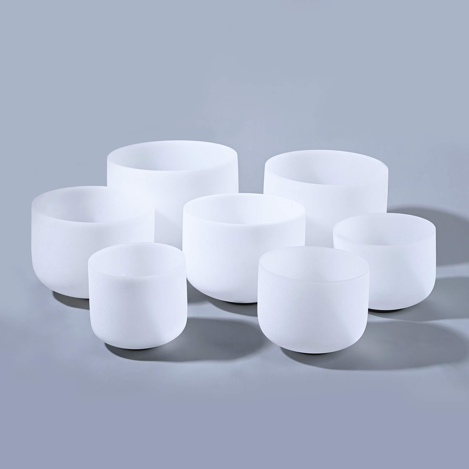 CVNC 6-12 Inch Perfect Pitch Frosted Quartz Crystal Singing Bowls US Shipping